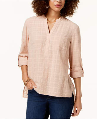 Style&Co. Style & Co Cotton Roll-Tab Textured Top
