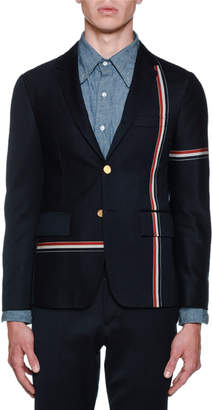 Thom Browne Men's Unconstructed Allover Stripe Sportcoat