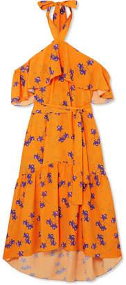 Borgo De Nor - Josephine Cold-shoulder Floral-print Crepe Maxi Dress - Orange