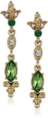 "Downton Abbey ""Jeweled Heirlooms"" Gold-Tone Belle Epoch Simulated-Emerald Drop Earrings"