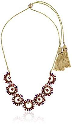 Marchesa Women's Gold Tone-Red Frontal Cord Necklace