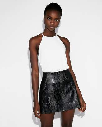 Express High Waisted (Minus The) Leather Snakeskin Print Mini Skirt