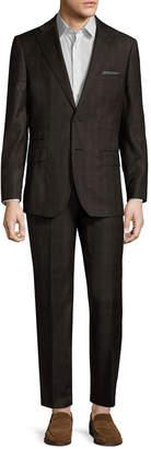 English Laundry Wool Plaid Peak Lapel Suit