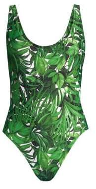 Milly Tropical Print Deep Side Scoop One-Piece Swimsuit