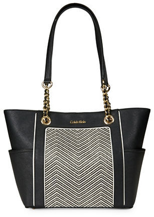 Calvin Klein Calvin Klein Saffiano Leather and Chevron Tote