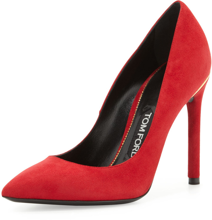 Tom Ford Suede Pointed-Toe Signature Pump, Scarlet
