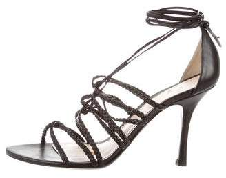 Giorgio Armani Leather Lace-Up Sandals