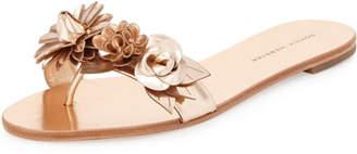 Sophia Webster Lilico Floral Flat Slide Sandal, Rose Gold