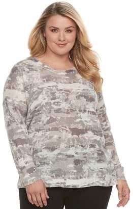 Rock & Republic Plus Size Print Crewneck Sweater