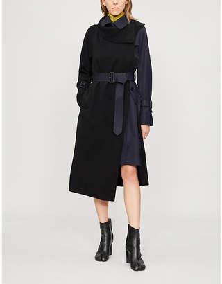 Sacai Asymmetric wool and cotton coat