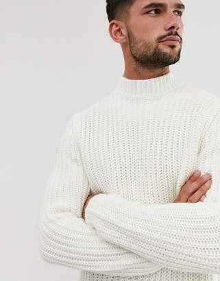Asos Design DESIGN heavyweight fisherman rib turtle neck jumper in white