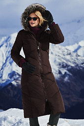Lands' End Women's Tall Down Long Coat-Coffee Bean $239 thestylecure.com