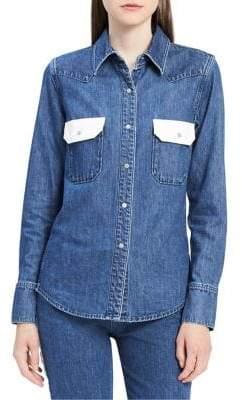 Calvin Klein Jeans Western Contrast Cotton Button-Down Shirt