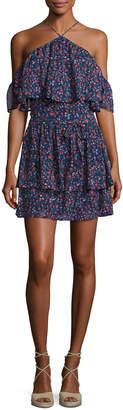 Paige Darya Floral-Print Silk Mini Dress, Indigo