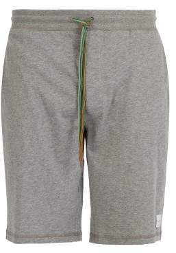 Paul Smith Mid Rise Signature Stripe Drawstring Cotton Shorts - Mens - Grey
