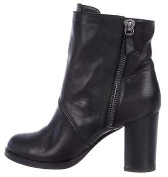 Casadei Suede Round-Toe Ankle Boots Black Suede Round-Toe Ankle Boots