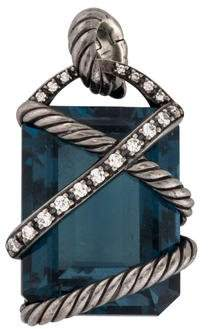 David Yurman Topaz & Diamond Cable Wrap Pendant