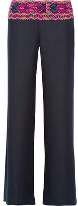 Figue Chanda Embroidered Silk-blend Wide-leg Pants - Midnight blue