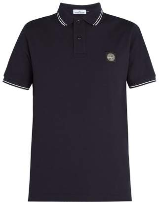 Stone Island Logo Patch Cotton Blend Pique Polo Shirt - Mens - Navy