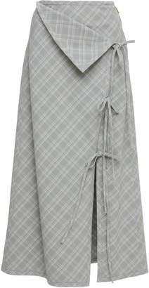 Prabal Gurung Naru Tie Front Plaid Skirt