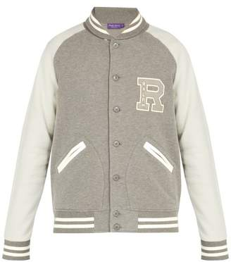 Ralph Lauren Purple Label Logo Embroidered Cotton Blend Varsity Jacket - Mens - Grey