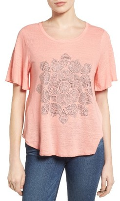 Women's Lucky Brand Studded Lotus Tee $49.50 thestylecure.com