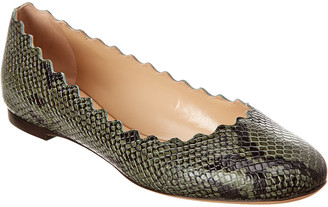 Chloé Lauren Scalloped Snake-Embossed Leather Ballerina Flat