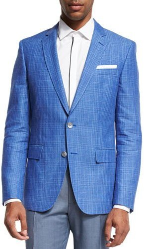Hugo BossBoss Hugo Boss Plaid Linen-Cotton Sport Coat, Blue