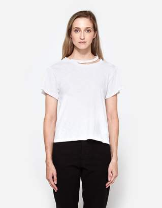 LnA Double Neck Band Tee in White