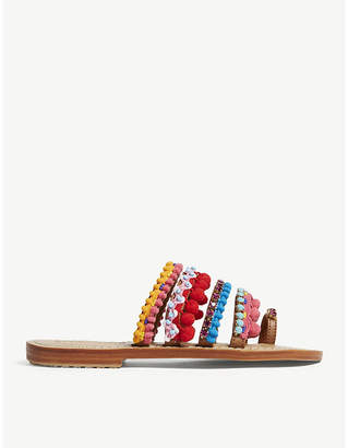 Mystique Pompom leather sandals