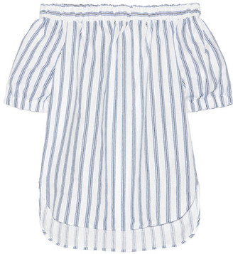 MICHAEL Michael Kors - Off-the-shoulder Striped Linen Top - White $98 thestylecure.com