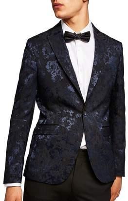 Topman Skinny Fit Floral Jacquard Suit Jacket