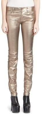 Saint Laurent Mid Rise Metallic Leather Pants