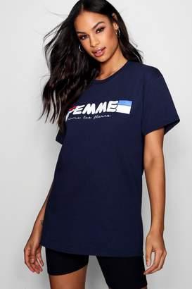 boohoo Tall Femme Slogan Tee