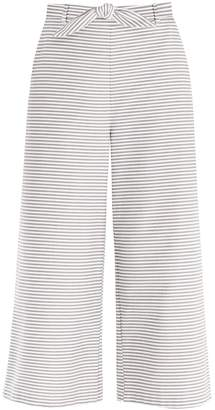 PAISIE - Horizontal Striped Wide Leg Culottes With Tie Belt