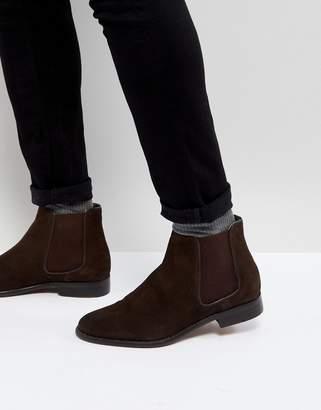 WALK LONDON Walk London Harrington Suede Chelsea Boots in Brown