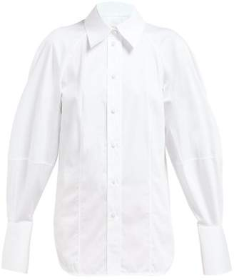 KHAITE Cecily Balloon Sleeve Cotton Poplin Shirt - Womens - White