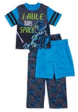 AME Sleepwear Little Boy's and Boy's Three-Piece Tee, Shorts and Pants Star Wars Pajama Set