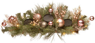 """National Tree Company 26"""" Decorated Pine Candle Holder with Bow, Gold Ornaments, Berries & Led"""
