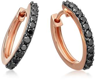 Astley Clarke Medium Halo Black Diamond Hoop Earrings