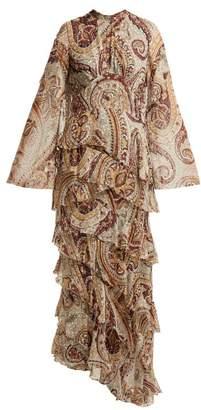 Etro Vega Tiered Silk Blend Dress - Womens - Grey Print