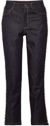 Paul & Joe Ontario Cropped Embellished High-rise Straight-leg Jeans - Dark denim