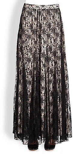 Alice + Olivia Louie Draped Lace Maxi Skirt