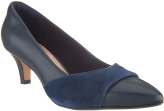 b41ae956977 at QVC · Clarks Leather and Nubuck Pointy Toe Pumps - Linvale Vena