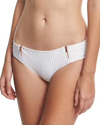 Ale by Alessandra Spring Training Zipper Cheeky Swim Bottom, Orange/White $100 thestylecure.com