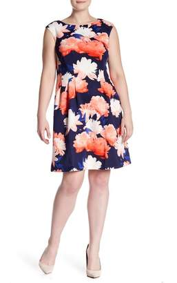 Vince Camuto Cap Sleeve Floral Print Scuba Fit and Flare Dress (Plus Size)