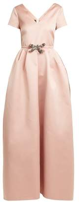 Rochas Dragonfly Applique V Neck Duchess Satin Gown - Womens - Light Pink