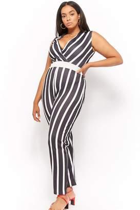 137242c14703 Forever 21 Plus Size Pink Clove Striped Surplice Jumpsuit