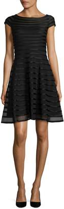 Betsy & Adam Cap-Sleeve Mesh Fit-and-Flare Dress