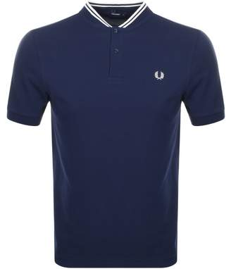 Fred Perry Bomber Collar Polo T Shirt Blue